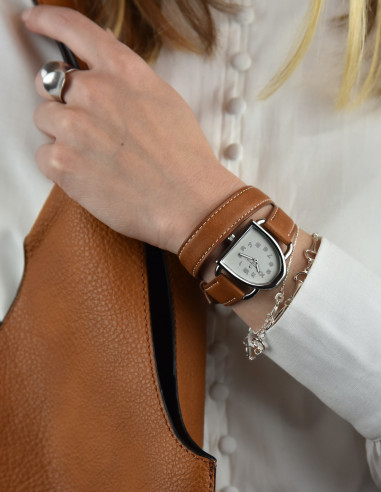 Mp watch - Silver color - Brown...