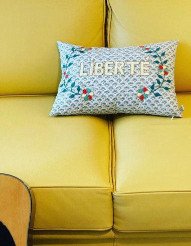 LIBERTÉ hand embroidered cushion