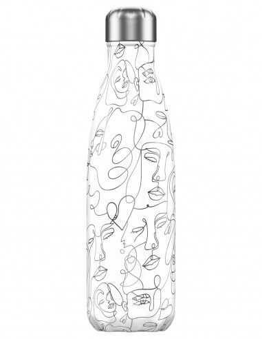 Line Art Faces Insulated Bottle 500ml...